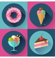 Cakes and sweets decorative icons set with donut vector image vector image