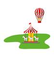 carousel and hot air balloon carnival fun fair vector image vector image