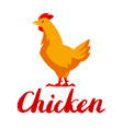 chicken emblem stylized yellow vector image