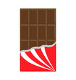 chocolate bar icon opened red wrapping paper vector image vector image