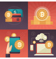 cryptocurrency - set of colorful flat design style vector image vector image