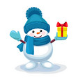 cute snowman with a gift on his hand isolated vector image