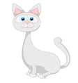 Cute white cat cartoon vector image vector image