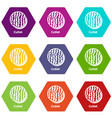 cutlet icons set 9 vector image vector image