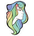 decorative portrait of shaman girl with rainbow vector image
