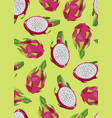 dragon fruit and slice seamless pattern on a vector image