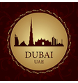 Dubai skyline silhouette on vintage background vector image vector image