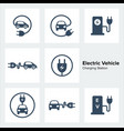electric vehicle charging station icons set vector image
