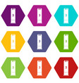 expanding bullets icon set color hexahedron vector image vector image