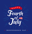 fourth july independence day vintage card blue vector image vector image