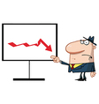 Grumpy Boss Pointing To A Decline Board vector image vector image
