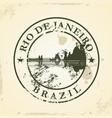 grunge rubber stamp with rio de janeiro brazil vector image vector image