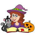 halloween girl reading book vector image vector image
