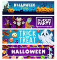 halloween party banners pumpkins ghosts candies vector image vector image