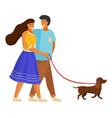 happy family walking dog girl holds dog collar vector image