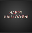 happy halloween greeting card mummy bandage font vector image