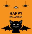 happy halloween three hanging spiders and bat vector image