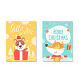 hello winter christmas poster vector image vector image