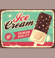 ice cream vintage tin sign vector image vector image