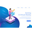isometric banner gaming in virtual reality in 3d vector image