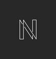 Letter N monogram modern thin line graphic design vector image vector image