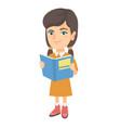 little caucasian schoolgirl reading a book vector image vector image