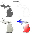 Michigan outline map set vector image vector image
