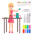 modeling clay banner with woman making cat vector image