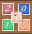 new year stickers with dog and numbers vector image