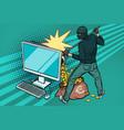 online hacker steals euro money from computer vector image vector image