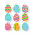 paper cut easter egg set isolated on white vector image vector image