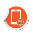 phone communication icon orange sticker vector image vector image
