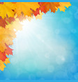 realistic maple leaves corner sun sky vector image vector image