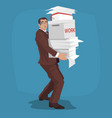 sad businessman carries working papers vector image vector image