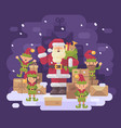 santa claus delivery service santa with a team of vector image vector image