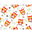 seamless pattern owl cartoon with bugs vector image