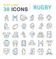 set line icons rugby vector image vector image
