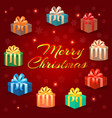 set of holiday gifts boxes in holiday packages vector image