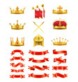 set of ribbons and royal headwears colorful card vector image vector image