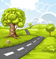 Spring landscape with trees and road vector image vector image