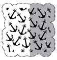 sticker monochrome pattern silhouette anchors vector image vector image