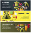 summer camping and forest camp banners vector image vector image