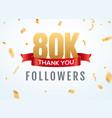 thank you 80000 followers design template social vector image vector image