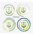 Thin line neat design logo shield icon set vector image