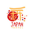 travel to japan logo with traditional building vector image vector image