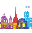 Turin skyline pop vector image vector image