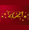 volumetric gold text happy new year 2021with vector image vector image