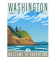 washington travel poster vector image vector image