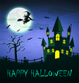 Witch flying over haunted castle with full moon vector image
