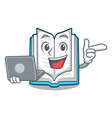 with laptop opened book on the cartoon table vector image vector image